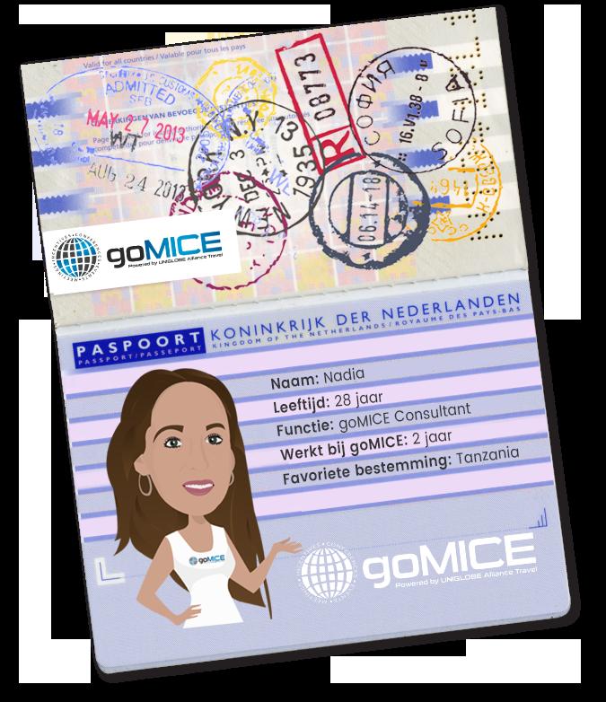 Paspoort goMICE Nadia - MICE: Meetings, Incentives, Congressen en Events