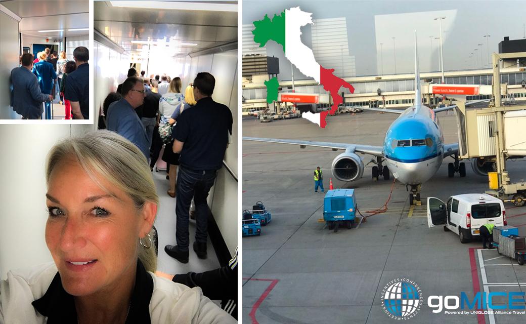 Anita onderweg naar Milaan met een groep