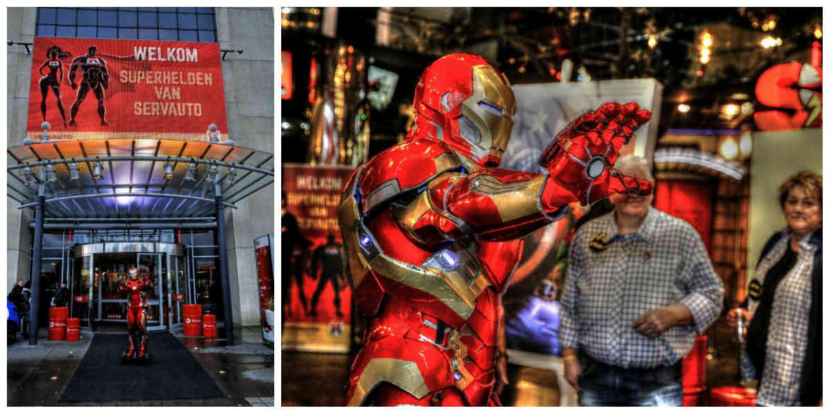 Een filmscene met superhero's zoals Iron Man en Batman, superhelden decoratie, super-food, interessante presentaties en toffe acts. Lees meer...